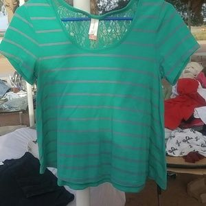 NWOT Striped lace back top